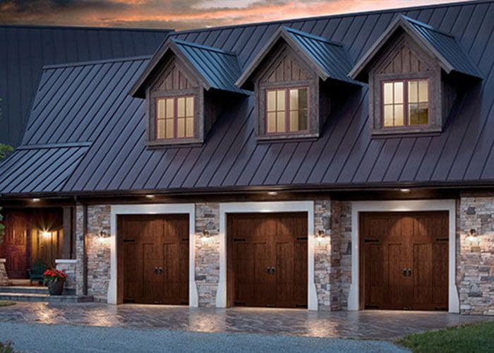 wood garage doors in townhome