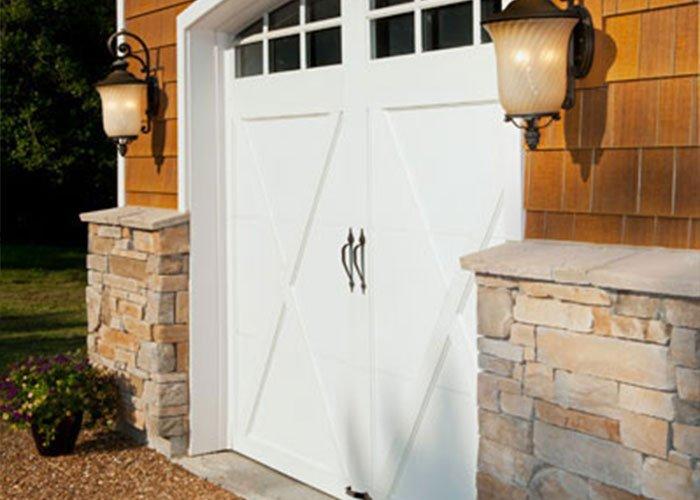 white barn style doors